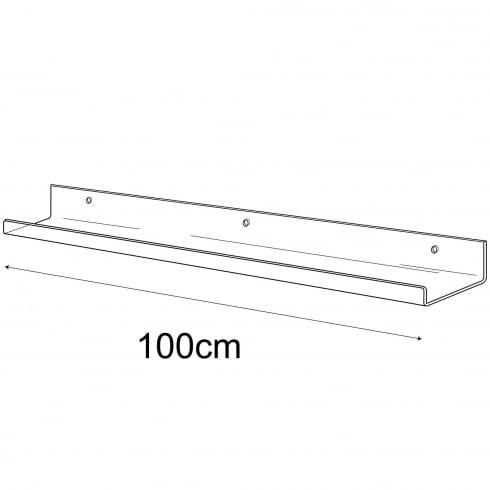 10cmx100cm lipped shelf-wall (Perspex and acrylic shelving)
