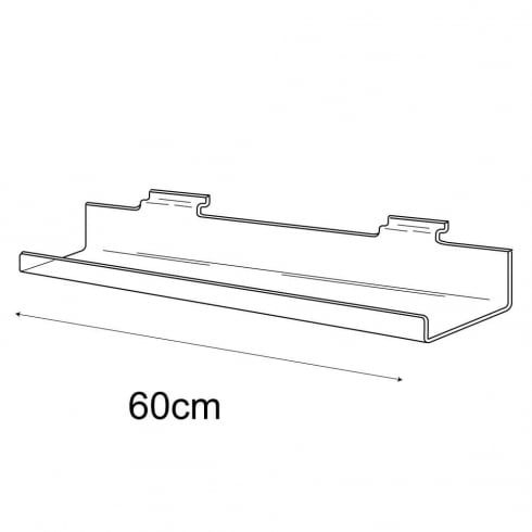 10cmx60cm lipped shelf-slatwall (slatwall acrylic shelf)