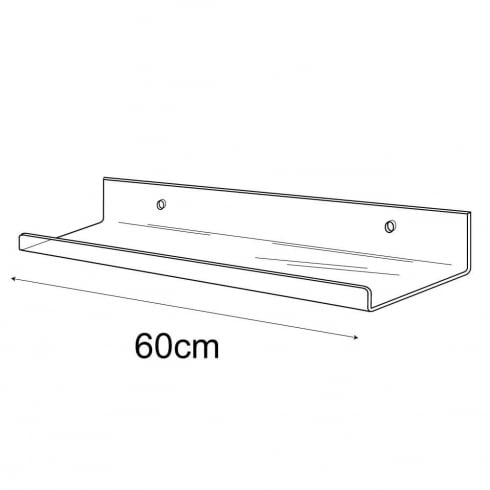 10cmx60cm lipped shelf-wall (acrylic shelving)