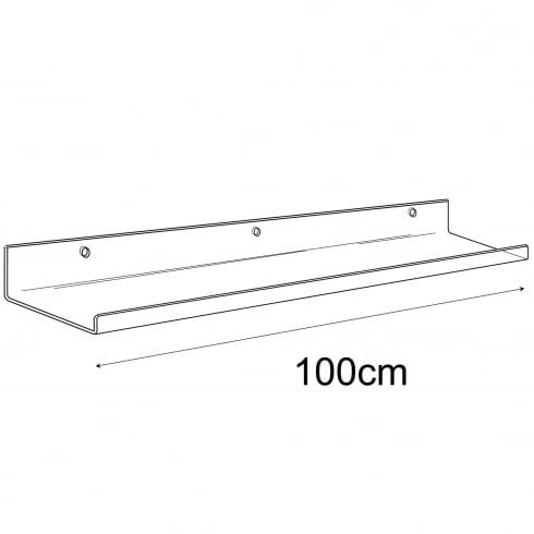 15cmx100cm lipped shelf-wall (Perspex ® and acrylic shelves)