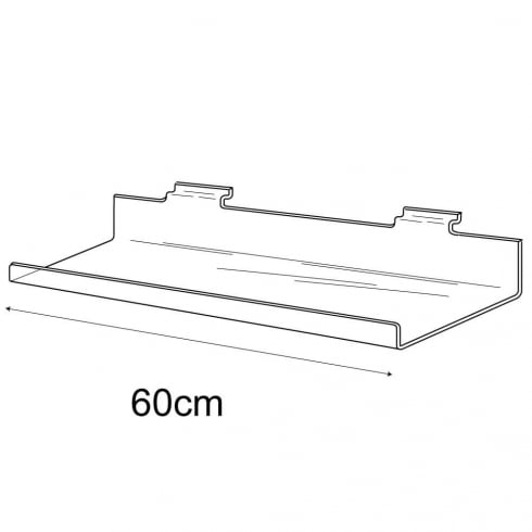 15cmx60cm lipped shelf-slatwall (slatwall acrylic shelf)