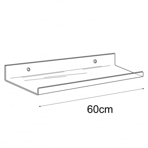 15cmx60cm lipped shelf-wall (acrylic shelving)