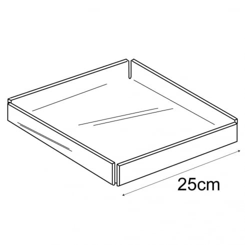 25cm square tray (acrylic trays & tubs)