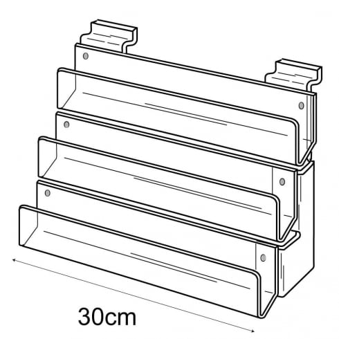 30cm card rack: 3 tier-slatwall (card rack for slatwall)