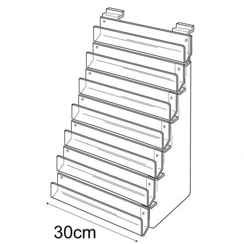 30cm card rack: 7 tier-slatwall (card display for slatwall)