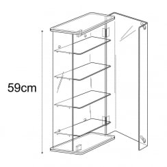 59cm adjustable display case: lockable-wall (acrylic show case)