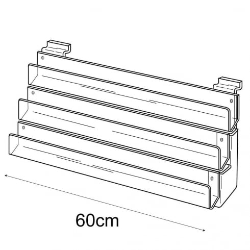 60cm card rack: 3 tier-slatwall (card display for slatwall)