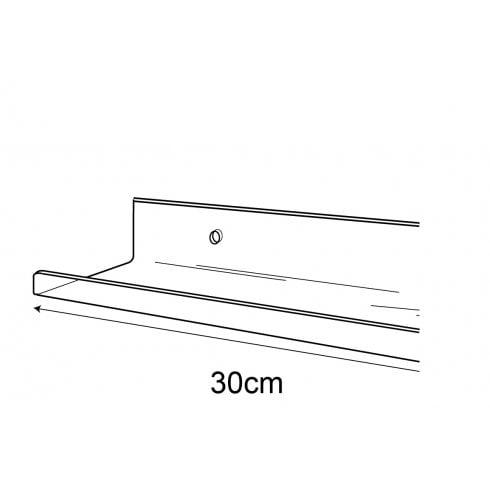 6cmx30cm lipped shelf-wall (Perspex shelf)