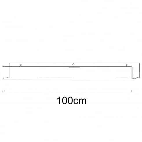 7cmx100cm lipped shelf-wall (Perspex ® and acrylic shelving)