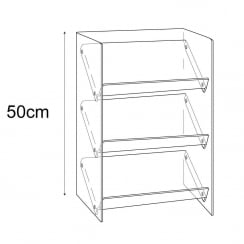 Counter merchandiser: reversible shelves (shelving unit)