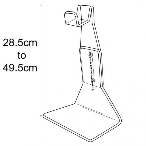 Handbag support: adjustable height (bag display: point of sale)
