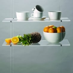 Hanging shelves: cable system: 2 shelves (25cm x 60cm) + cables & fixings shelf (shelf cable system)