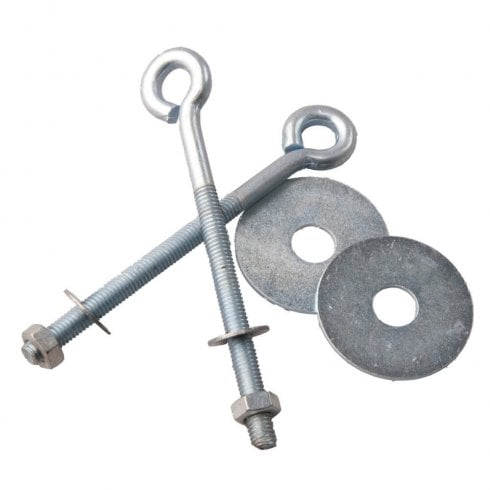 M6 eye bolt set: 2x eye bolts 2x washers 2x nuts (slatwall: shop fittings)