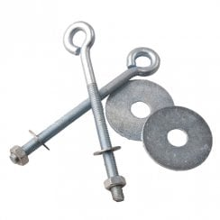 M6 eye bolt set: 2x eye bolts 2x washers 2x nuts (slatwall: shop fittings)