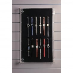 Pin-up display case: lockable-wall/counter