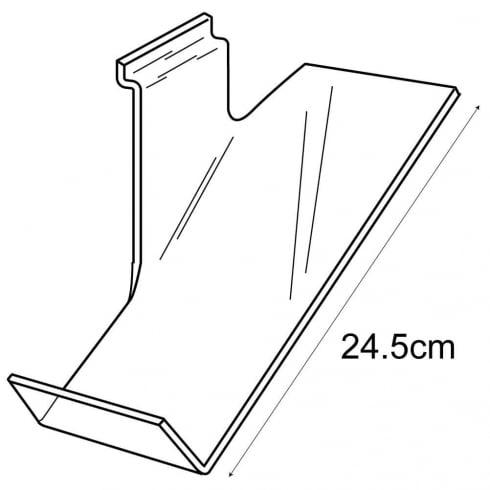 Shoe shelf: left facing-slatwall (acrylic shoe stand)