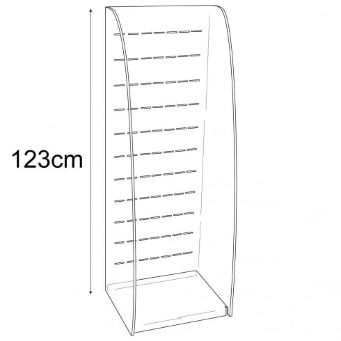 Slotted merchandiser shell (suitable for hooks, prongs and shelves)