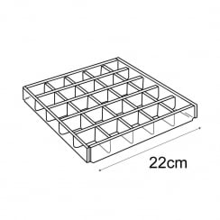 Small divided tray: fixed dividers (acrylic trays & tubs)