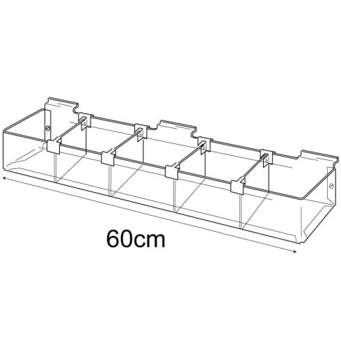 Trough: adjustable dividers-slatwall (trays & tubs for slatwall)